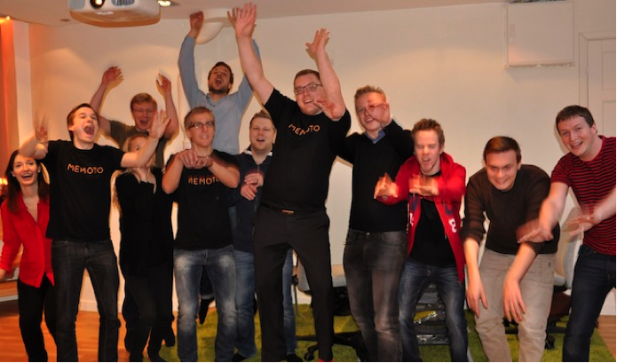 The Memoto team celebrates passing its $50,000 goal