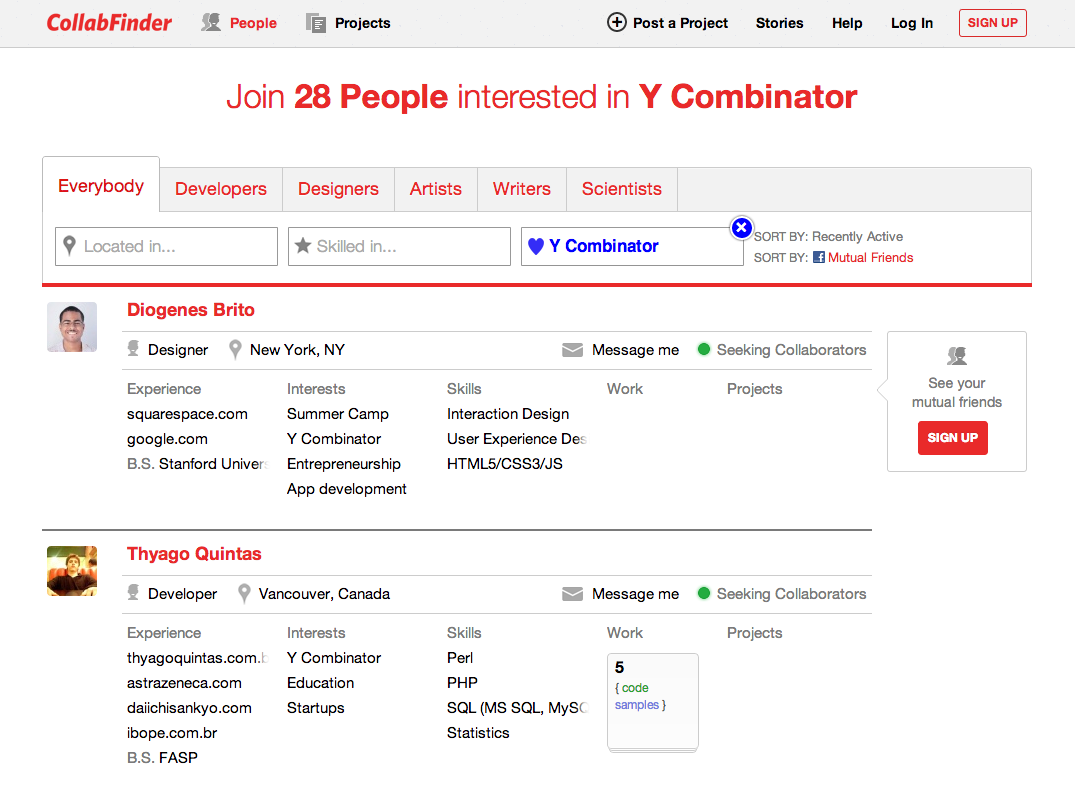CollabFInder Search Example