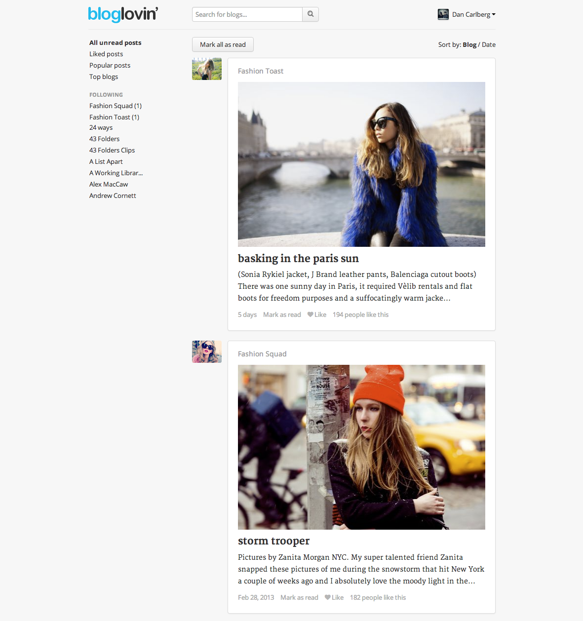 The Bloglovin feed