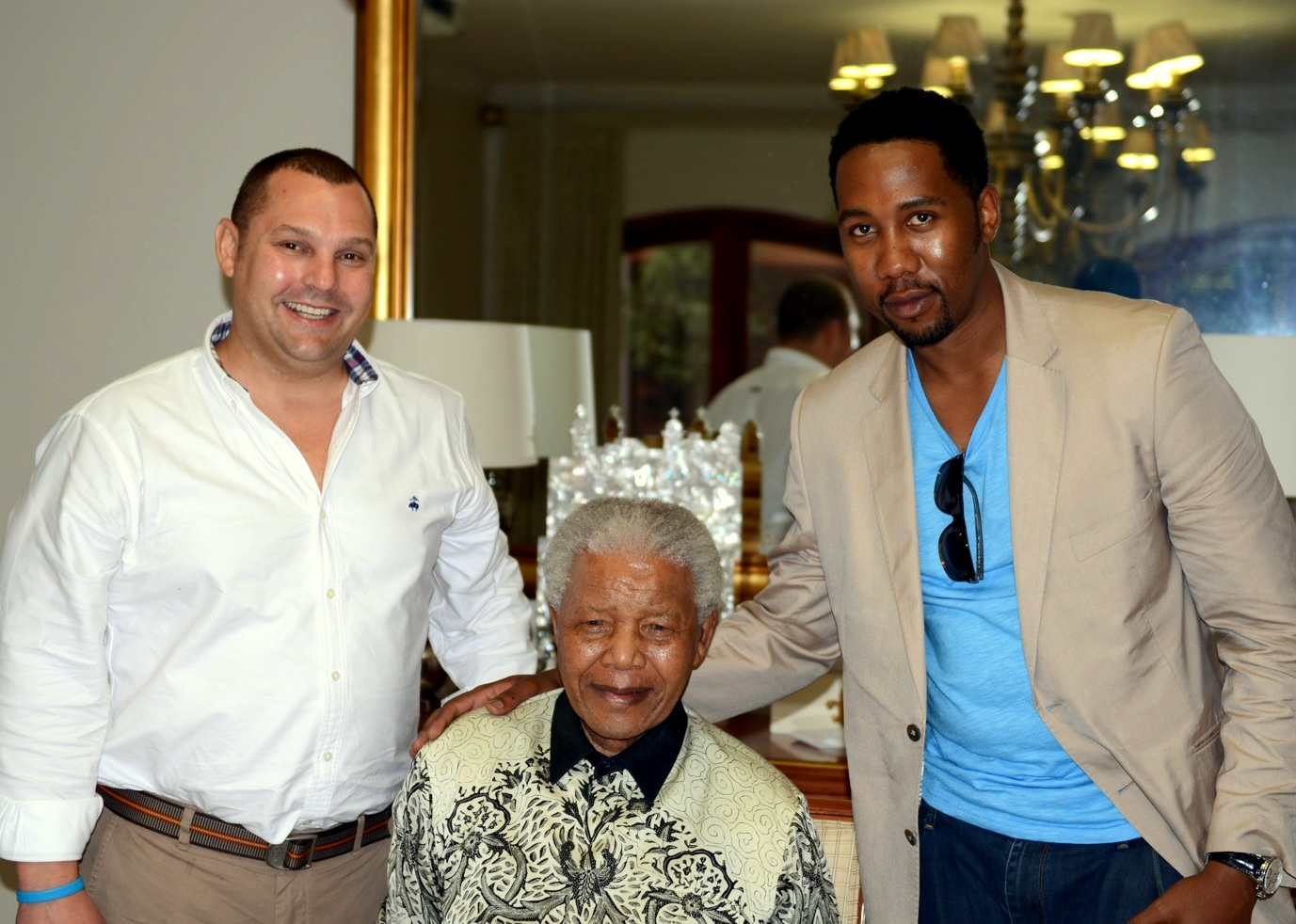 Ndaba Mandela and Matthew Michelsen with Nelson Mandela