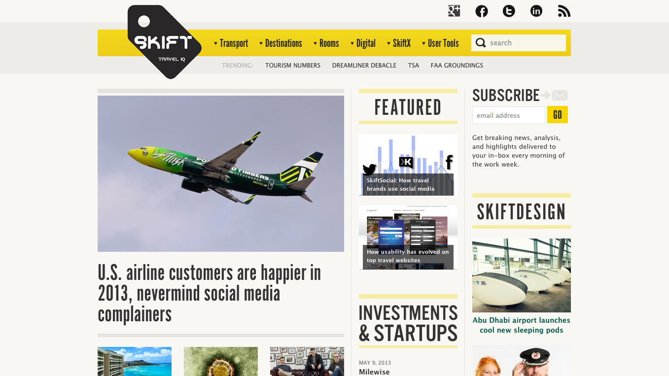 Skift's homepage