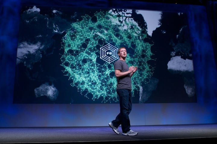 Mark Zuckerberg on stage at the last f8
