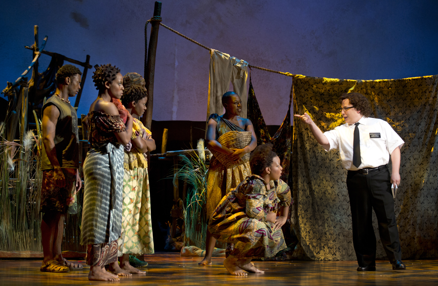 "Elder Cunningham preaches his gospel in ""The Book of Mormon""."