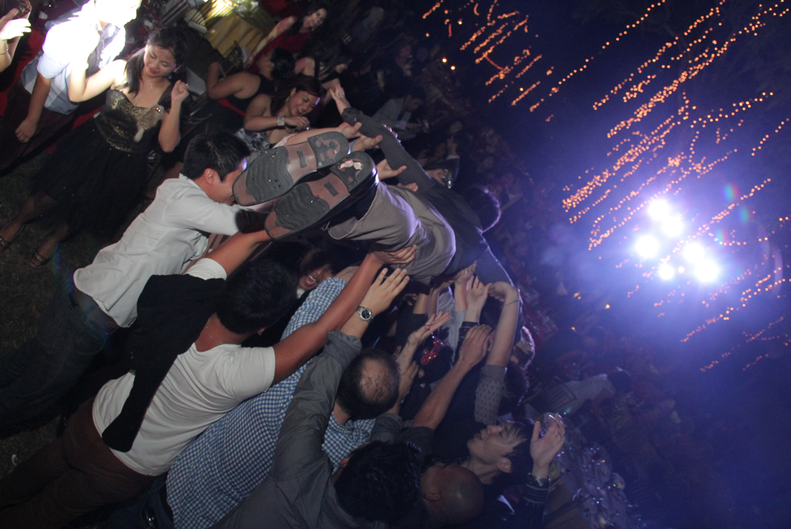 Crowdsurfing at the TaskUs Philippines' office annual holiday party
