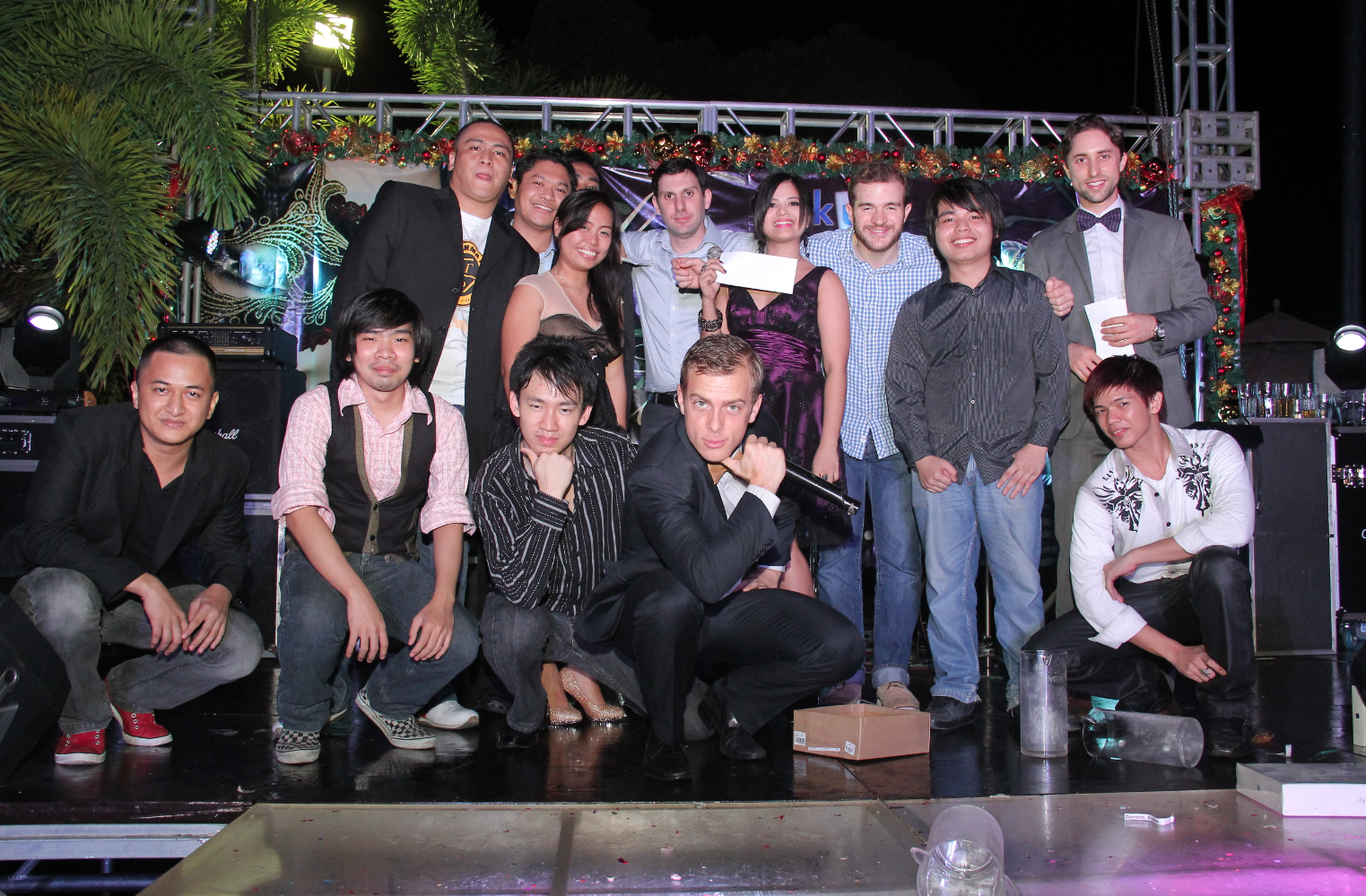 Part of the TaskUs Philippines team at the holiday party. Co-ounder Maddock in the front row, one to the left.