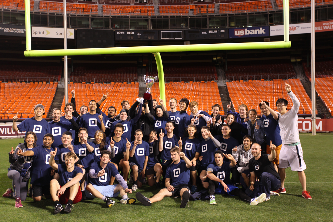 Winning company Square poses with their trophy at Candlestick Park
