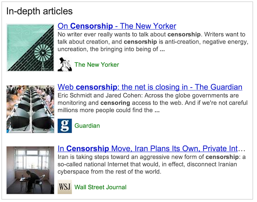 "An example of Google's results for ""in-depth articles."""