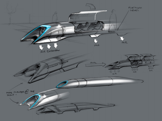 A concept sketch of the Hyperloop published in Elon Musk's plans.