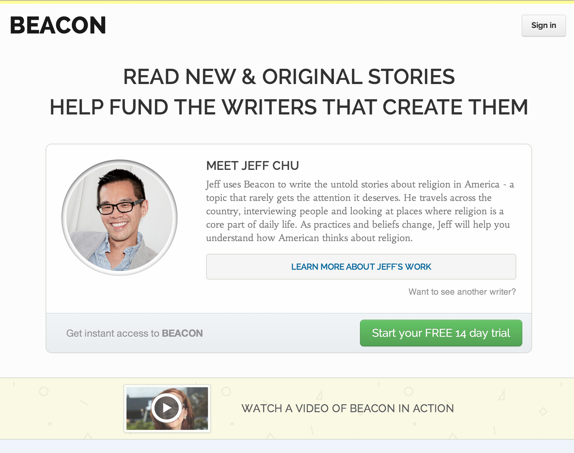 A Beacon profile page.