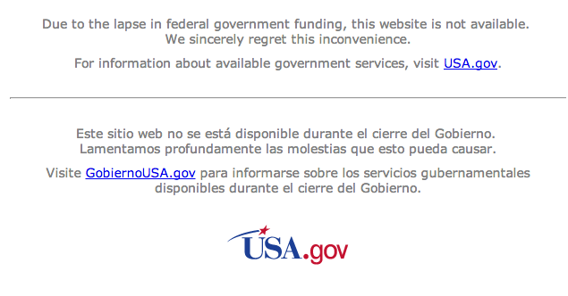 NASA.gov shutdown message