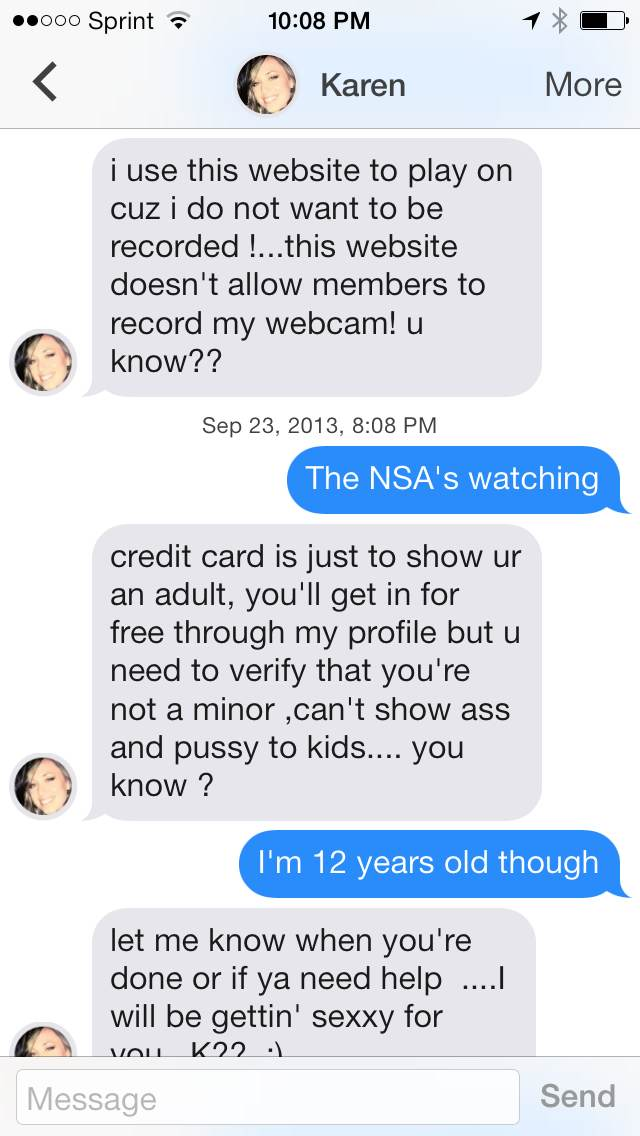 Conversation with a possible Tinder bot