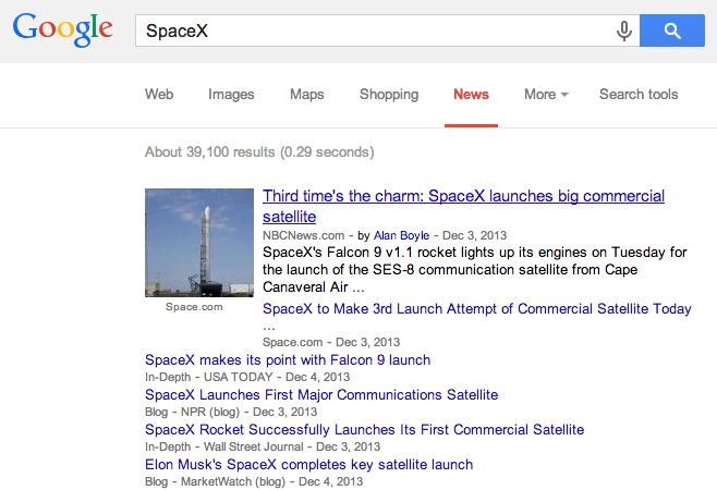 SpaceX Google News