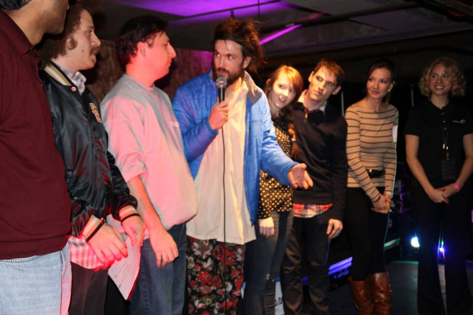 Edward Sharpe and the Magnetic Zeros frontman Alex Ebert presenting with his Hackdance team