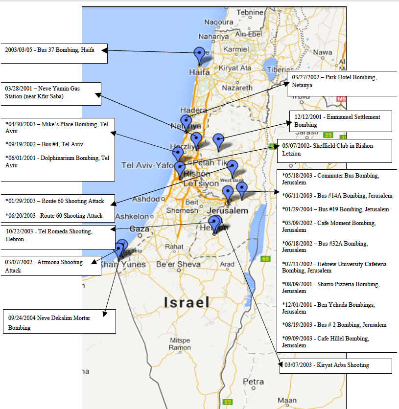 Map of Hamas Attacks