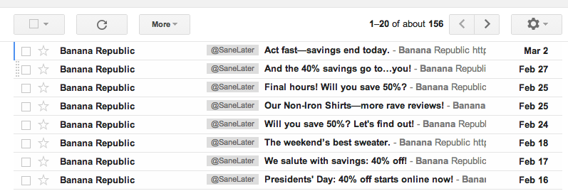 Banana Republic email ads