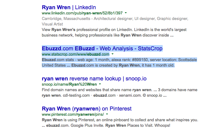 eBuzzd Ryan Wren Search Result